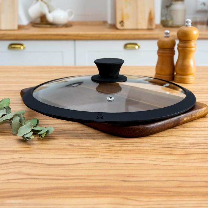Крышка для сковороды и кастрюли Доляна стеклянная с силиконовым ободком и ручкой, d=22 см, цвет чёрный - фото 883071