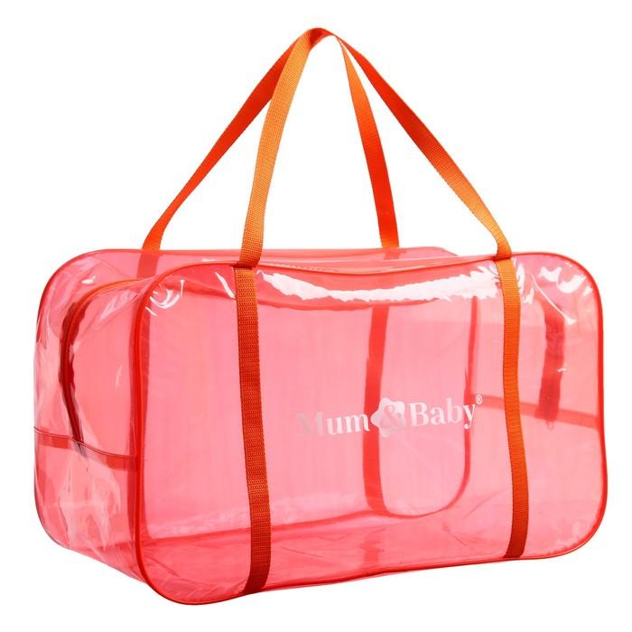 Сумка в роддом 30х50х25, цветной ПВХ, цвет оранжевый в наличии