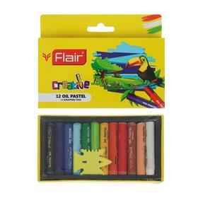 Пастель масляная детская 12цв FLAIR CREATIVE +инструмент д/выскабливания, картон, европод FA