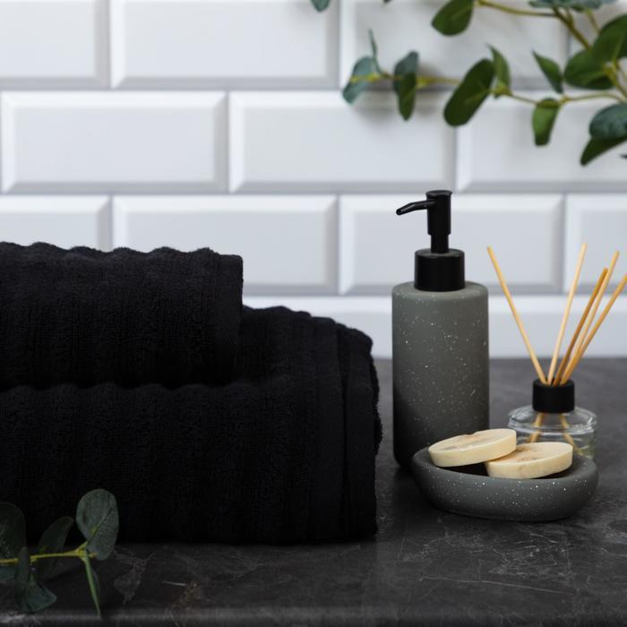"""Полотенце махровое Этель """"Waves"""" чёрный, 30х60 см, 100% хлопок, 460 гр/м2 - фото 883180"""