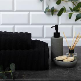 """Полотенце махровое Этель """"Waves"""" чёрный, 70х130 см, 100% хлопок, 460 гр/м2"""