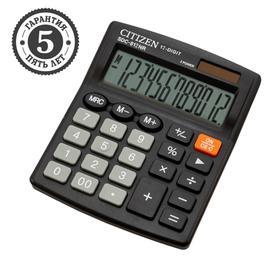 Калькулятор настольный 12-разр, 102*124*25мм, 2-е питание, черный SDC-812NR