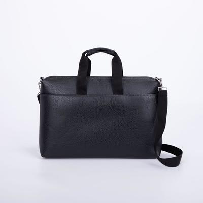 Портфель мужской, отдел на молнии, наружный карман, длинный ремень, цвет чёрный