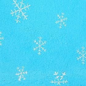 Велюр на голубом фоне белые снежинки, ширина 180 см