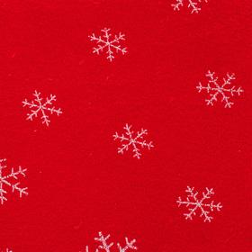Велюр на красном фоне белые снежинки, ширина 180 см