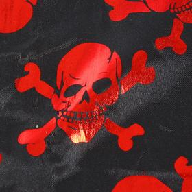Ткань атлас черный с красными черепами, ширина 150 см