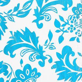 Ткань атлас на белом фоне голубой блестящий узор, ширина 150 см