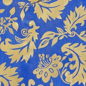 Ткань атлас на синем фоне золотые узоры, ширина 150 см