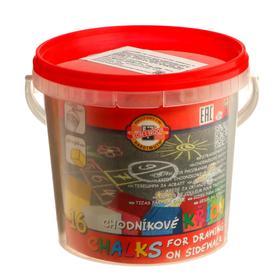 Мелки цветные для асфальта 16 штук, 6 цветов, Koh-i-Noor 1125, прямоугольные, в ведре