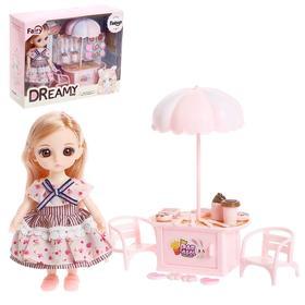 Кукла модная шарнирная «Женечка в кафе», с мебелью и аксессуарами