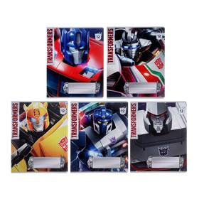 Тетрадь 12 листов в клетку Transformers, обложка мелованный картон, выборочный УФ-лак, блок офсет, МИКС