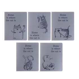 """Тетрадь 48 листов в клетку """"Дом там, где кот"""", обложка мелованный картон, металлическая плёнка, блок офсет, МИКС"""