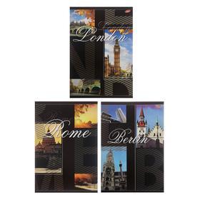"""Тетрадь А4, 80 листов в клетку """"Города"""", обложка мелованный картон, УФ-лак, блок офсет, МИКС"""