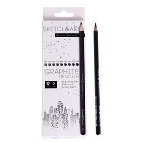 Карандаши чернографитные 9 штук Sketch&art, 4В-14В
