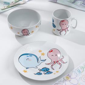 Набор посуды «Море», 3 предмета: кружка 300 мл, тарелка d=20 см, тарелка глубокая 250 мл