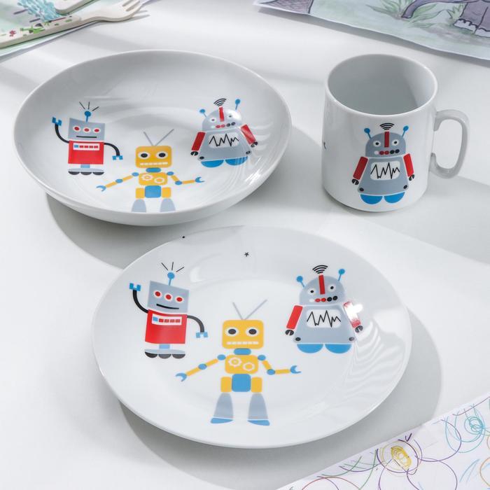 Набор посуды «Роботы», 3 предмета: кружка, тарелка, тарелка глубокая - фото 889915