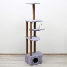 """Комплекс-когтеточка угловой """"Пижон"""" с гамаком, 48х48х171 см, джут, искусственный мех, серый"""