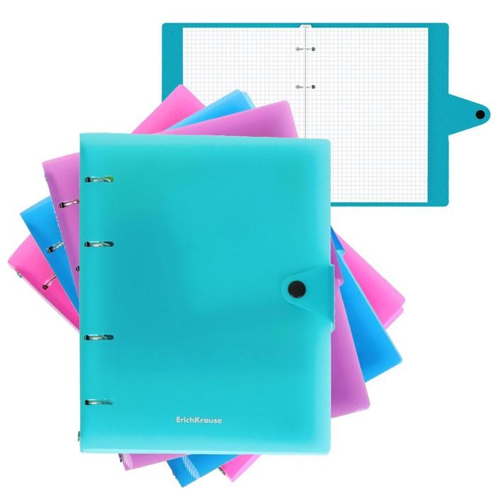 Тетрадь на 4-х кольцах 80 листов в клетку Glance Vivid, пластиковая обложка, блок офсет, МИКС *