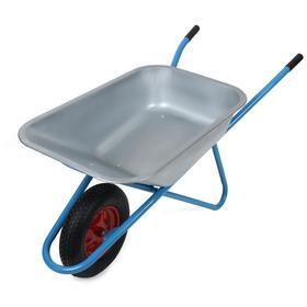 Тачка строительная, одноколёсная: груз/п 180 кг, объём 100 л, пневмоколесо 4.8/4.00-8, кузов 0,7 мм, синяя