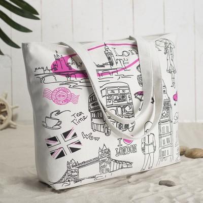 Bag London for lining, zipper, color white