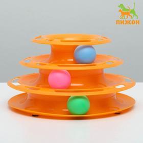 """Игровой комплекс """"Пижон"""" для кошек с 3 шариками, 24,5 х 24,5 х 13 см, оранжевый"""