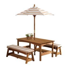 Детский стол с двумя скамейками и зонтом, натуральное дерево, цвет бело-коричневые полосы