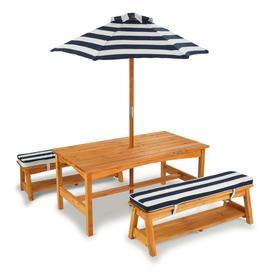 Детский стол с двумя скамейками и зонтом, натуральное дерево, цвет сине-белые полосы