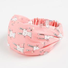 Косынка-повязка для девочки, цвет розовый, размер 48-52