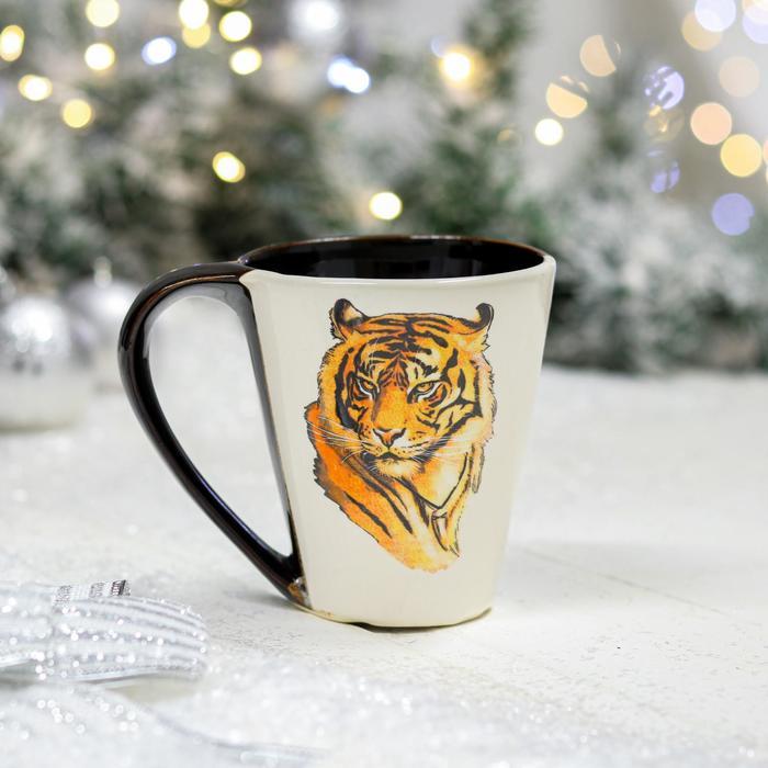 """Кружка """"Парусная"""", деколь тигр, цветная, 0.3 л - фото 890767"""