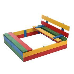Песочница деревянная, с крышкой и ящиком для игрушек, 100*100*20 см, сосна крашеная