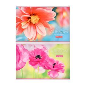"""Альбом для рисования А4, 24 листа на скрепке """"Цветы"""", обложка мелованный картон, блок 100 г/м2, МИКС"""