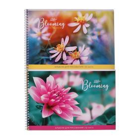 """Альбом для рисования А4, 32 листа на гребне """"Цветы"""", обложка мелованный картон, блок 100 г/м2, МИКС"""