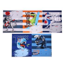 Тетрадь 12 листов в клетку Dino paty, обложка мелованный картон, блок офсет, МИКС