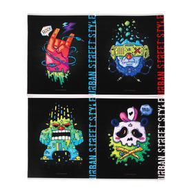 Тетрадь 48 листов в клетку Urban street, обложка мелованный картон,двойной УФ-лак, блок офсет, МИКС