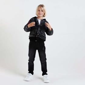 Jacket denim for a boy, color blue, 128 cm