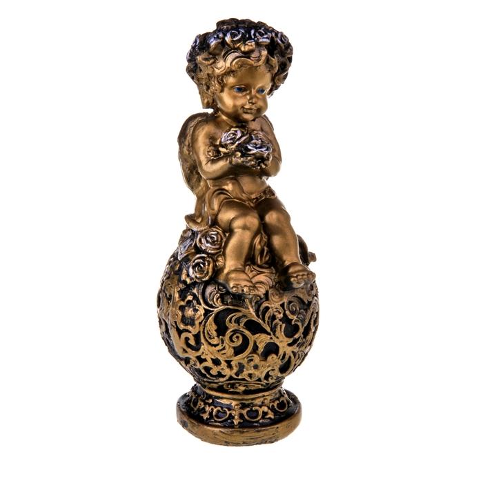 Статуэтка «Ангел на шаре», цвет бронзовый, 12 × 12 × 25 см