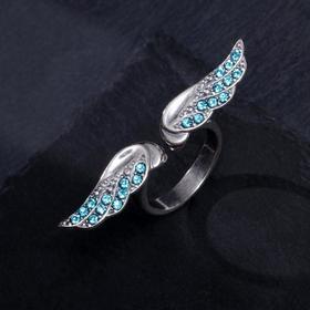 """Кольцо посеребрение """"Крылья"""", цвет голубой, 18 размер"""