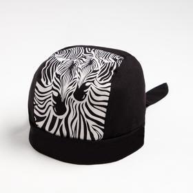Бандана для мальчика, цвет чёрный/зебра, размер 50-53 см (3-6 лет)