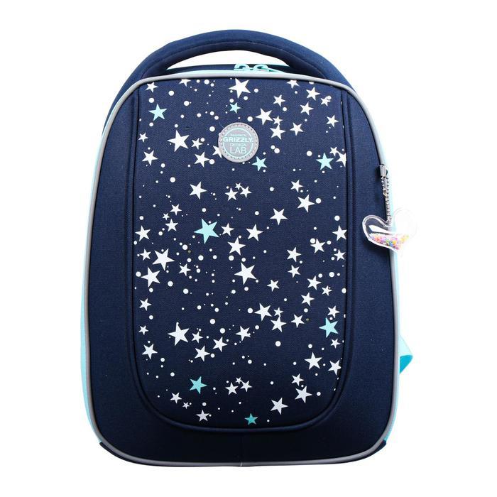 """Рюкзак каркасный Grizzly RAf-192, 39 х 30 х 18, для девочки """"Звёзды"""", синий - фото 832114"""