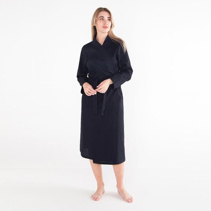 Халат вафельный женский удлин Экономь и Я р-р 54-56, цв. черный, 100%хл, 200г/м2 - фото 891046