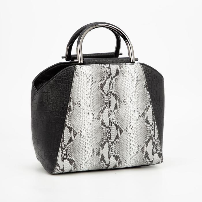 Сумка-тоут, отдел на молнии, наружный карман, цвет чёрный/рептилия - фото 833219