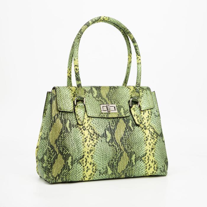 Сумка-тоут, 3 отдела на молнии, наружный карман, длинный ремень, цвет зелёный - фото 833227