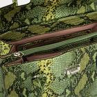 Сумка-тоут, 3 отдела на молнии, наружный карман, длинный ремень, цвет зелёный - фото 833229