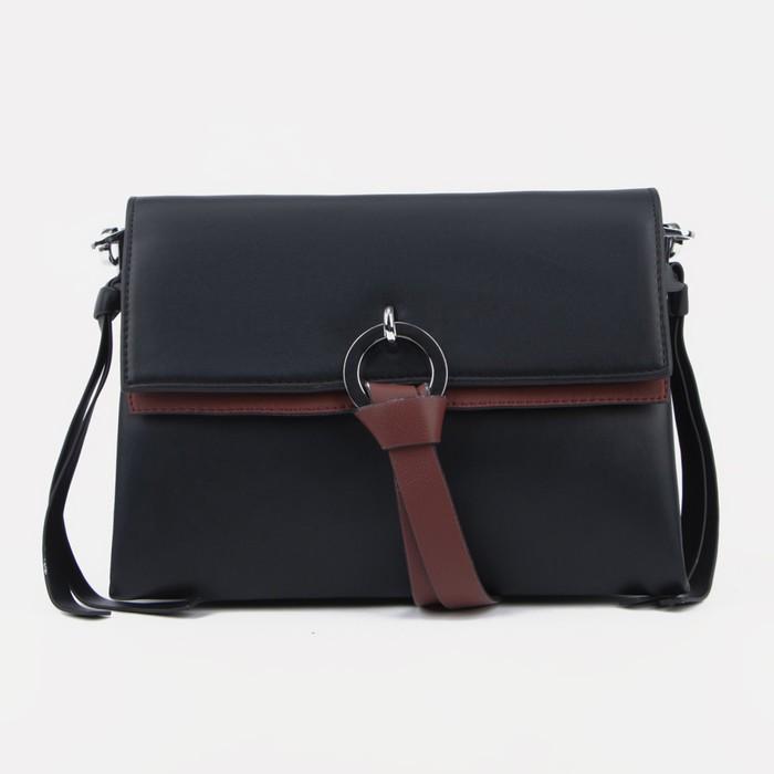 Сумка-мессенджер, отдел на клапане, наружный карман, цвет чёрный - фото 833312
