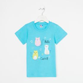 Футболка для девочки, цвет голубой, рост 98-104 см (4)
