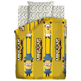 Постельное бельё 1.5 сп «Миньоны 2» Black and yellow 143х215 см, 150х214 см, 70х70 см
