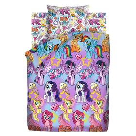 "КПБ 1.5 ""My Little Pony"" Summer time 143х215, 150х214, 70х70см, бязь 120гм хл100%"
