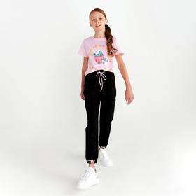 Футболка для девочки, цвет розовый, рост 122-128 см