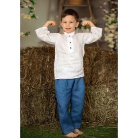 Рубашка с коротким рукавом «Лён», рост 80 см