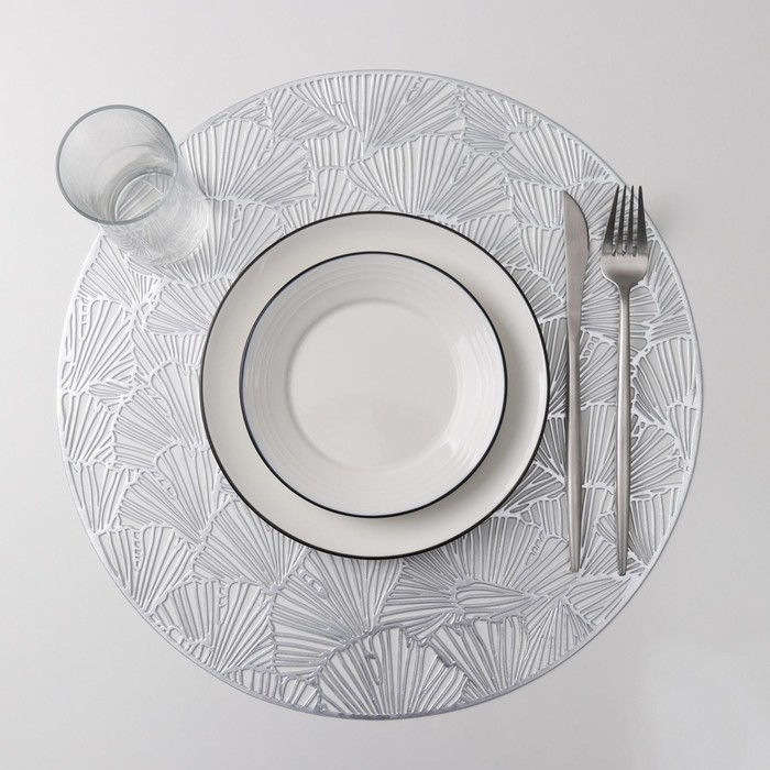 Набор салфеток кухонных Доляна «Веер», 38×38 см, 4 шт, цвет серебро